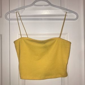 Forever 21 Yellow Ribbed Bungee Strap Crop Top